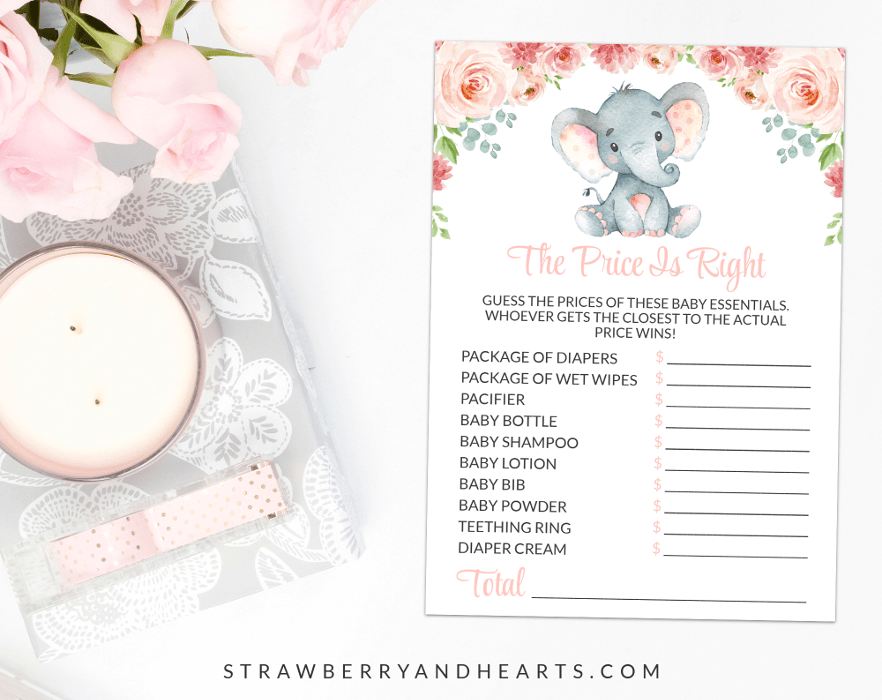 Little Elephant The Price Is Right, Baby Shower Game, Girl Baby Shower, Printable File, SH07