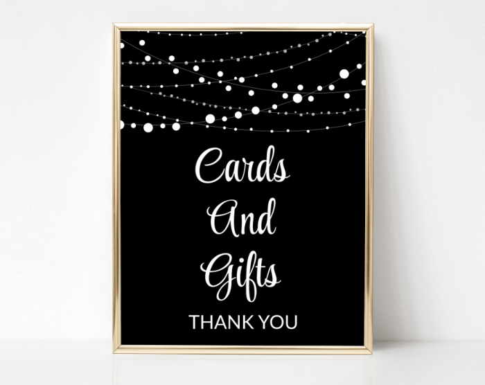 String Of Lights Cards And Gifts Sign, Baby Shower, Bridal Shower, Birthday, Wedding, Printable File, SH13 SH14 SH15 SH43