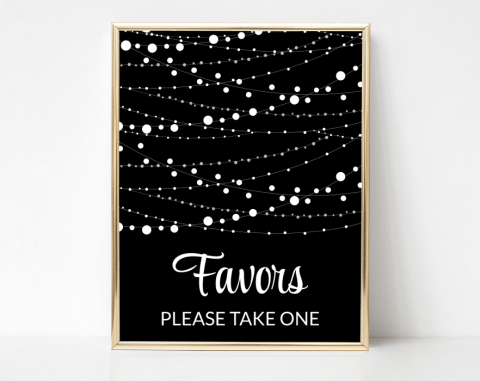String Of Lights Favors Sign, Baby Shower, Bridal Shower, Wedding, Printable File, SH13 SH14 SH15
