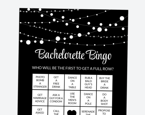 String Of Lights Bachelorette Bingo, Bachelorette Party Game, Printable File, SH16