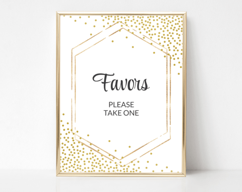 Gold Confetti Favors Sign, Baby Shower, Bridal Shower, Wedding, Printable File, SH21 SH22 SH23