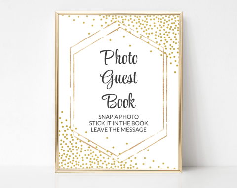 Gold Confetti Photo Guest Book Sign, Baby Shower, Bridal Shower, Wedding, Printable File, SH21 SH22 SH23