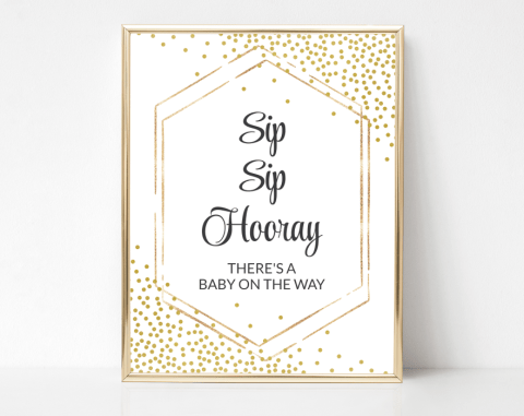Gold Confetti Sip Sip Hooray Sign, Baby Shower Signage, Gender Neutral, Printable File, SH21