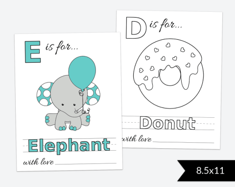 Baby's First ABC Book, Coloring Pages, Baby Shower Activity, 8.5x11, Printable File