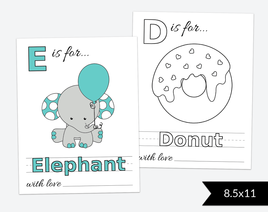 Baby S First Abc Book Coloring Pages Baby Shower Activity 8 5 11 Printable File Sh07 Sh08 Sh13