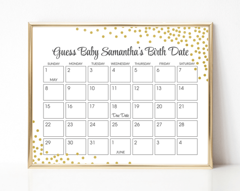Gold Confetti Guess The Due Date, Baby Shower Game, Gender Neutral, Printable File, SH21