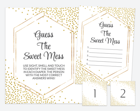 Gold Confetti Guess The Sweet Mess, Baby Shower Game, Gender Neutral, Printable File, SH21