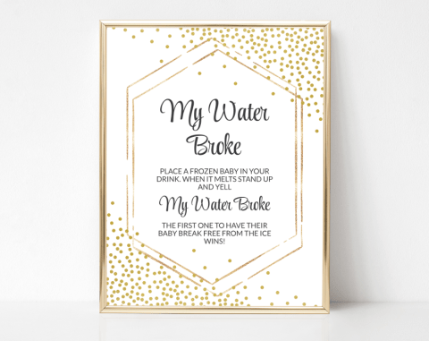 Gold Confetti My Water Broke, Baby Shower Game, Gender Neutral, Printable File, SH21