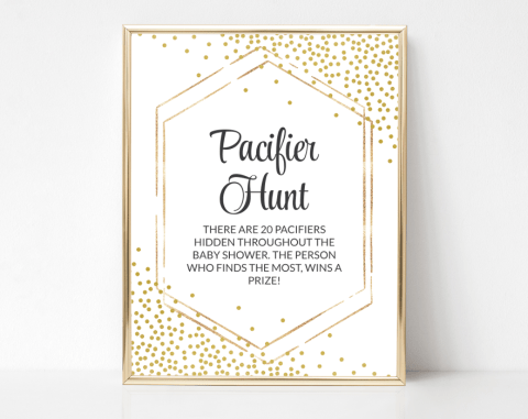 Gold Confetti Pacifier Hunt, Baby Shower Game, Gender Neutral, Printable File, SH21