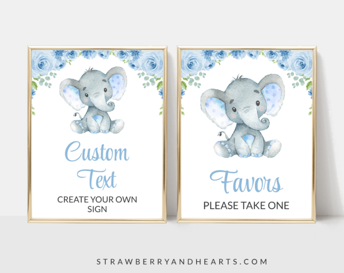 Baby Elephant Baby Shower Signs Bundle, Set Of 12 Signs, Boy Baby Shower, Printable File, Edit Yourself, SH08