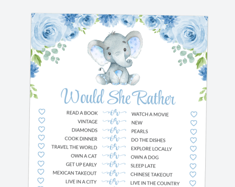 Baby Elephant Would She Rather, Birthday, Boy Baby Shower, Printable File, SH08 SH44