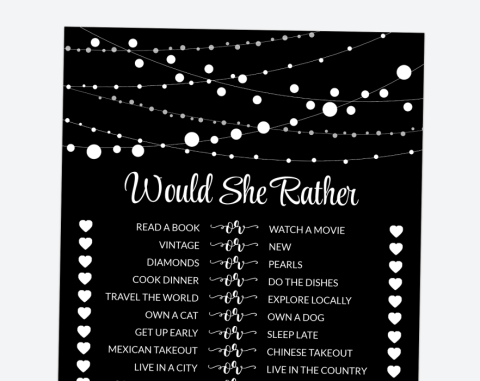 String Of Lights Would She Rather, Baby Shower, Bridal Shower, Birthday, Printable File, SH13 SH14 SH43
