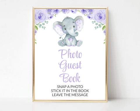 Cute Elephant Photo Guest Book Sign, Baby Shower Signage, Gender Neutral, Printable File, SH18