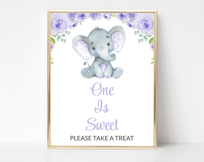 Cute Elephant One Is Sweet Sign, Birthday Party Sign, First Birthday, Printable File, SH19