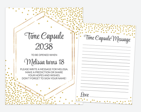 Gold Confetti Time Capsule, Baby Shower, First Birthday, Gender Neutral, Printable File, Edit Yourself, SH21 SH42