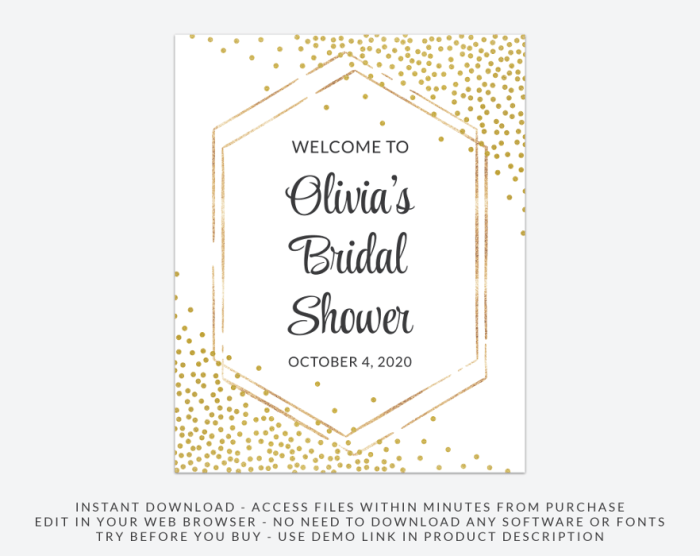 Gold Confetti Welcome Sign, Bridal Shower Signage, Printable File, Edit Yourself, SH22