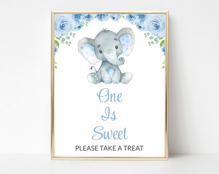Baby Elephant One Is Sweet Sign, Birthday Party Sign, First Birthday, Printable File, SH44