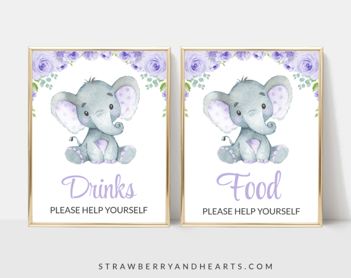Cute Elephant Baby Shower Signs Bundle, Set Of 12 Signs, Gender Neutral, Printable File, Edit Yourself, SH18