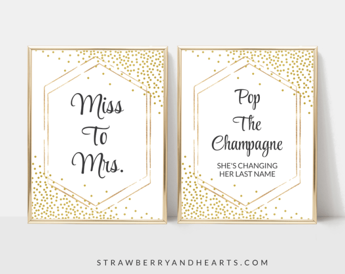 Gold Confetti Bridal Shower Signs Bundle, Set Of 12 Signs, Printable File, Edit Yourself, SH22