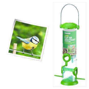 Gardman A01235 Flip Top Seed Feeder available from Strawberry Garden Centre, Uttoxeter