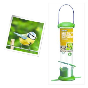 Gardman A04247 large fliptop sunflower heart feeder available from Strawberry Garden Centre, Uttoxeter