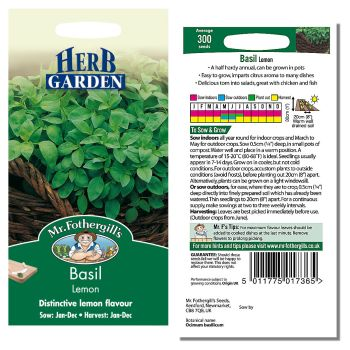 Mr. Fothergill Basil Lemon Seeds available from Strawberry Garden Centre, Uttoxeter
