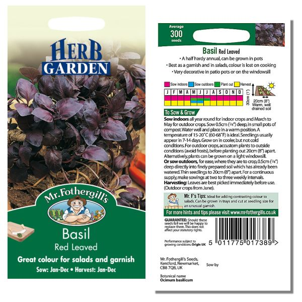 Mr. Fothergill Basil Red Leaved Seeds available from Strawberry Garden Centre, Uttoxeter