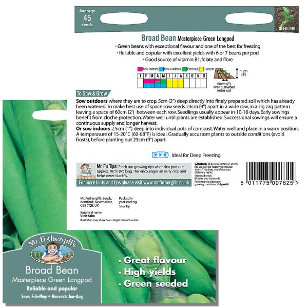 Mr. Fothergill Broad Bean Masterpiece Green Longpod Seeds available from Strawberry Garden Centre, Uttoxeter
