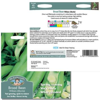 Mr. Fothergill Broad Bean Witkiem Manita Seeds available from Strawberry Garden Centre, Uttoxeter