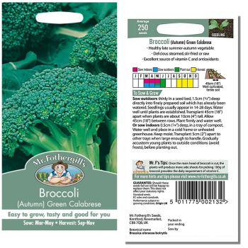Mr. Fothergill Broccoli Autumn Green Calabrese Seeds available from Strawberry Garden Centre, Uttoxeter