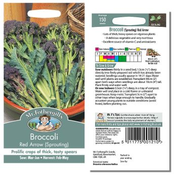 Mr. Fothergill Broccoli Red Arrow (Sprouting) Seeds available from Strawberry Garden Centre, Uttoxeter