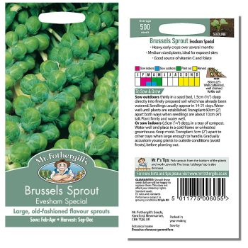 Mr. Fothergill Brussel Sprout Evesham Special Seeds available from Strawberry Garden Centre, Uttoxeter