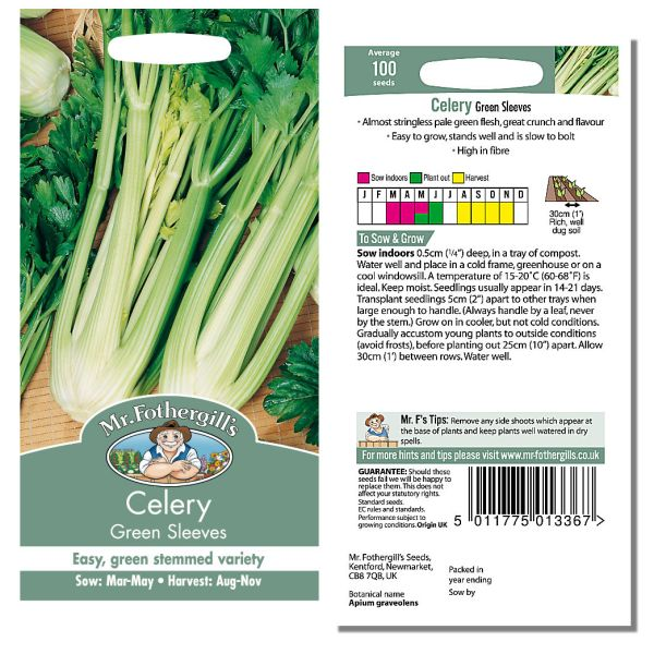 Mr. Fothergill Celery Green Sleeves Seeds available from Strawberry Garden Centre, Uttoxeter