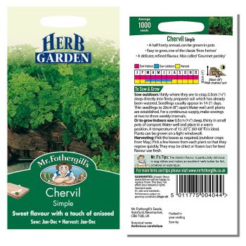Mr. Fothergill Chervil Simple Seeds available from Strawberry Garden Centre, Uttoxeter