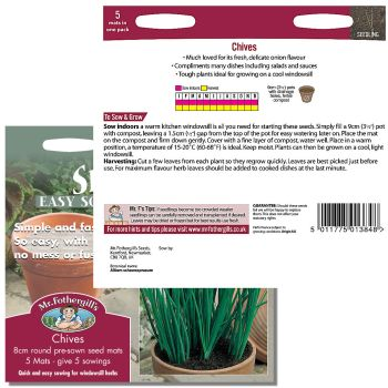 Mr. Fothergill Chives Seed mats available from Strawberry Garden Centre, Uttoxeter
