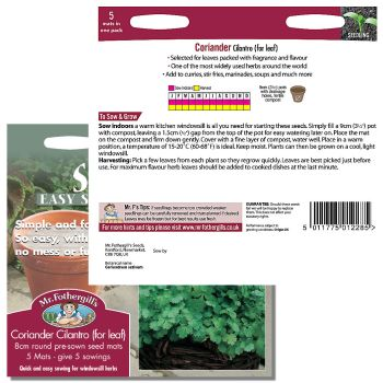 Mr. Fothergill Coriander Cilantro (for leaf) Seed mat available from Strawberry Garden Centre, Uttoxeter