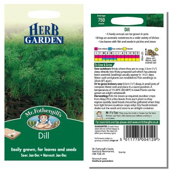 Mr. Fothergill Dill Seeds available from Strawberry Garden Centre, Uttoxeter