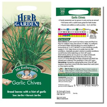 Mr. Fothergill Garlic Chives Seeds available from Strawberry Garden Centre, Uttoxeter