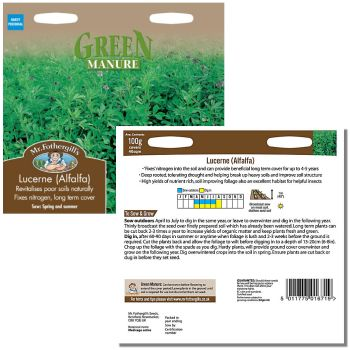 Mr. Fothergill Green Manure Lucerne Alfalfa Seeds available from Strawberry Garden Centre, Uttoxeter