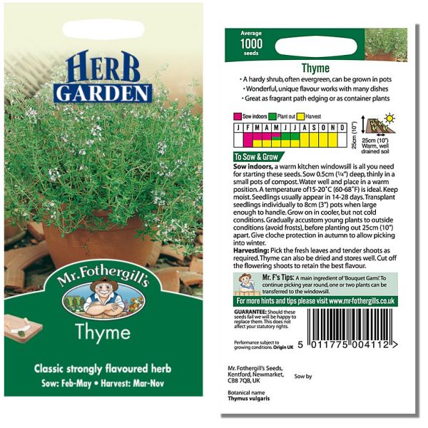 Mr. Fothergill Herb Garden Thyme Seeds available from Strawberry Garden Centre, Uttoxeter