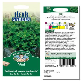 Mr. Fothergill Mint Seeds available from Strawberry Garden Centre, Uttoxeter