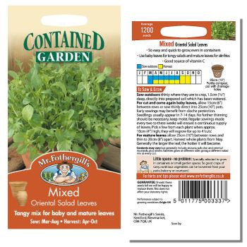 Mr. Fothergill Mixed Oriental Salad Leaves Seeds available from Strawberry Garden Centre, Uttoxeter