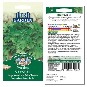Mr. Fothergill Parsley Giant of Italy Seeds available from Strawberry Garden Centre, Uttoxeter
