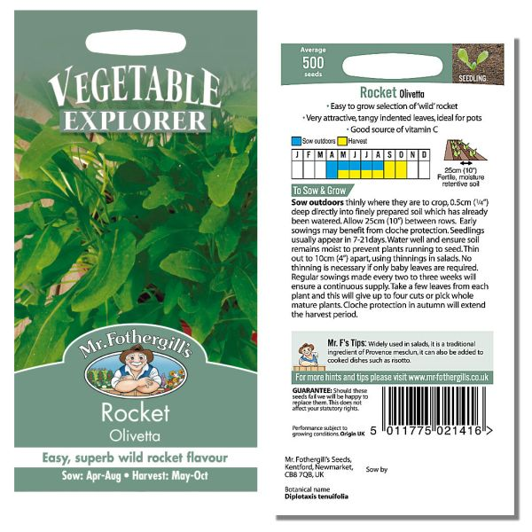 Mr. Fothergill Rocket Olivetta Seeds available from Strawberry Garden Centre, Uttoxeter