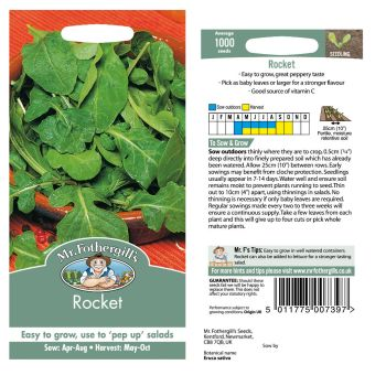Mr. Fothergill Rocket Seeds available from Strawberry Garden Centre, Uttoxeter