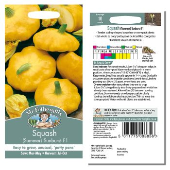 Mr. Fothergill Squash (summer) Sunburst F1 Seeds available from Strawberry Garden Centre, Uttoxeter