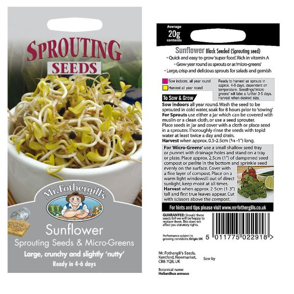 Mr. Fothergill Sunflower Sprouting Seeds & Micro Greens Seeds available from Strawberry Garden Centre, Uttoxeter