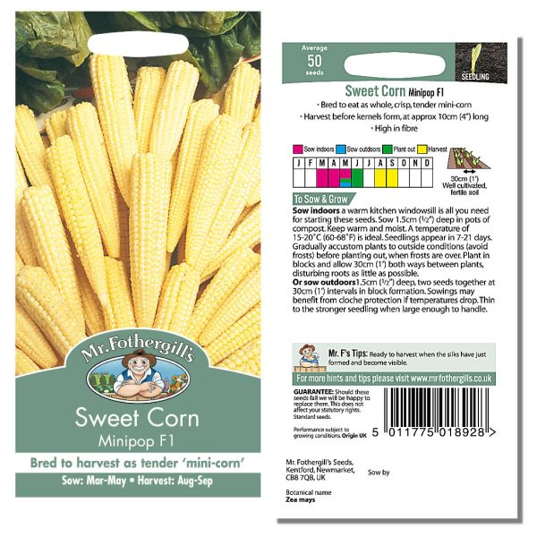 Mr. Fothergill Sweet Corm Minipop F1 Seeds available from Strawberry Garden Centre, Uttoxeter
