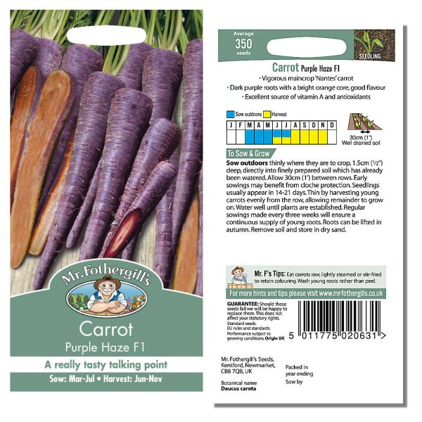 Mr. Fothergill Carrot Purple Haze F1 Seeds available from Strawberry Garden Centre, Uttoxeter