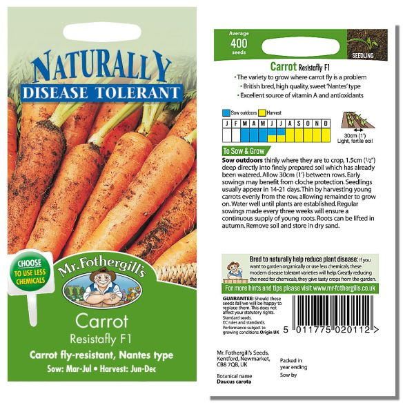 Mr. Fothergill Carrot Resistafly F1 Seeds available from Strawberry Garden Centre, Uttoxeter